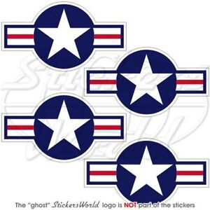United States AirForce USAF US ARMY NAVY USMC Aircraft Roundel 70mm Stickers x4