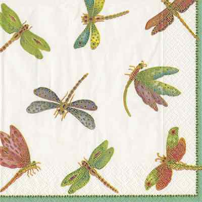 Dragonfly insect luxury traditional paper table napkins serviettes 20 in pack