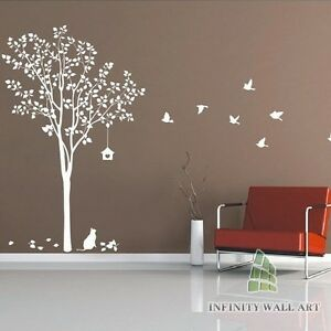 Stylish-Tree-Birds-Wall-Art-Decor-wall-Stickers-Wall-Decals-PD368