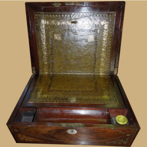 Antique Victorian Rosewood and Mother of Pearl Inlay - Lap or Travel Desk