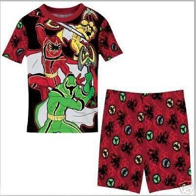 Red Power Ranger Pajamas (POWER RANGERS Pajamas Boys 6 NeW 2 piece Mystic Force Shirt Shorts Pjs Set)