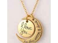 Gold Necklace with Pendent 'I Love You' Jewellery