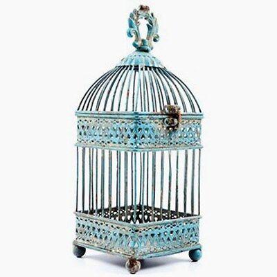 Antique Blue Square Iron Bird Cage.  Gorgeous Shabby-chic Home Decor