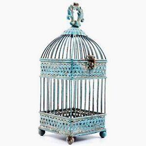 Gorgeous Antique Blue Square Iron Bird Cage.  Shabby-chic Home Decor