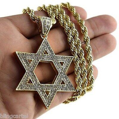 Star Of David Pendant Jewish Kabbalah Charm Gold Finish Necklace 30