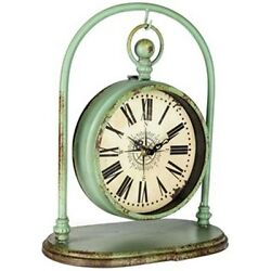 Rustic Green Hanging Metal Table Clock on Arch, Stunning Home Decor. NEW