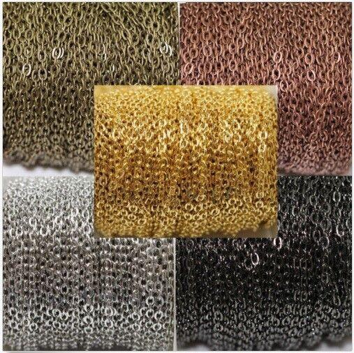 Jewellery - Jewelry Chain Silver Gold Gunmetal Copper Bronze Rose Gold 3x4mm links