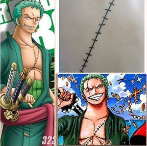 Anime cosplay one piece temporary bady tattoo sticker 2 year later zoro scar - Stickers muraux one piece ...