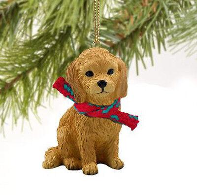 GOLDENDOODLE DOG CHRISTMAS ORNAMENT HOLIDAY XMAS Figurine Scarf gift