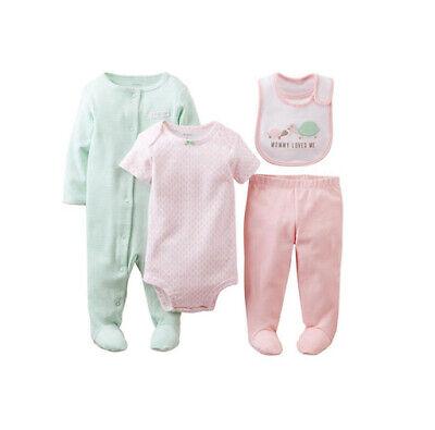 Carters Baby Girls 4 Piece Sleeper Bodysuit Pants Bib 9 Mont