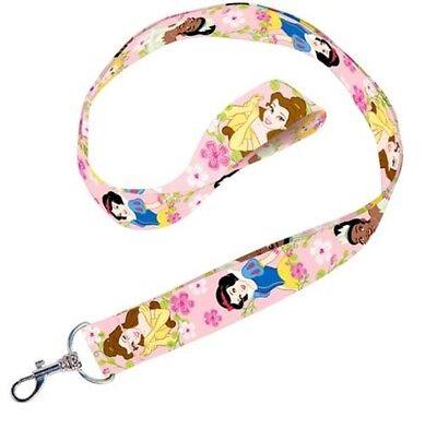 Disney Princess Lanyard Keychain Pink Belle Snow White Tiana Key Chain New