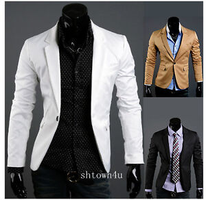Men fitted one button dress suit coats blazer casual jacket 3 colors