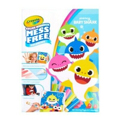 CRAYOLA COLOR WONDER pinkfong BABY SHARK~INCLUDES 18PGS & 5 MARKERS~AGES 3+~NEW - Crayola Color Wonder Markers