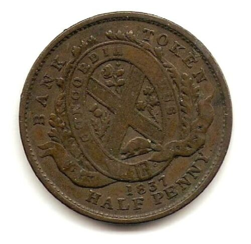 1837 CANADA BANK TOKEN 1/2 PENNY COIN