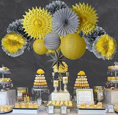Yellow Grey Paper Flower Fan Lantern kit for Wedding birthday  Party Decor - Yellow Birthday Party Decorations