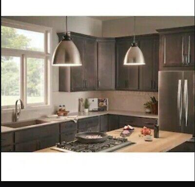 2 Pak Kichler Pendants Brushed Nickel Metal Shade W/Matte Black Accents 1048254