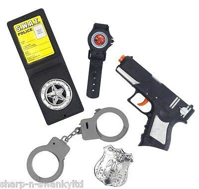 Jungen Mädchen 5 Stück Polizei Swat Kostüm Zubehör Satz Spielzeug Orden Pistole