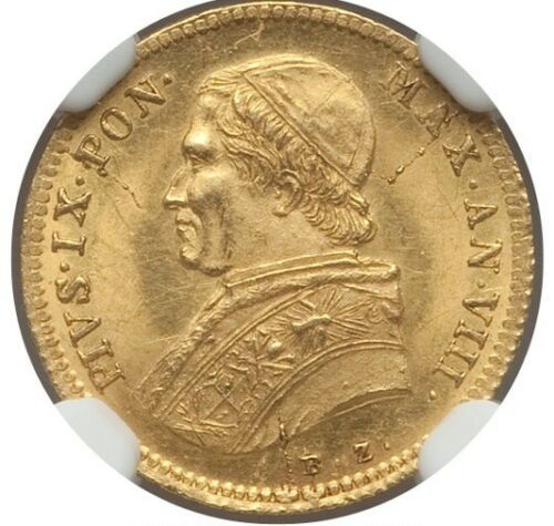ITALY PAPAL STATES  1853-R  1 SCUDO GOLD COIN UNCIRCULATED, CERTIFIED NGC MS-63