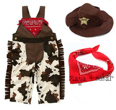 Baby Boy Girl Cowboy Sheriff Costume Fancy Dress Outfit Scarf Hat Set 3 6 12 - Cowboy Kostüm Baby Jungen