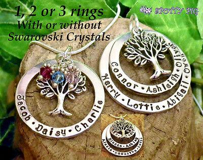 Personalisiert Halskette Namen Familie Baum des Lebens, Geschenk Hand Stempel