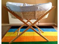Moses basket, stand & fitted sheets (used)