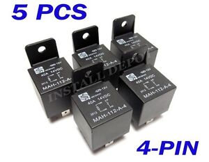 5 pk premium 12v bosch style spst 40 amp automotive relays. Black Bedroom Furniture Sets. Home Design Ideas
