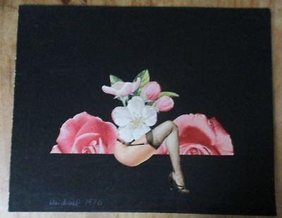 Collage Erotik Science-Fiction 1976 Jahren Kunst Rosen Beine Strapse Fetisch