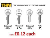 Universal 4,5,6 Pin Keys & Yale 1A - £0.12 each Key Cutting Machine