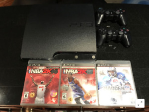 PS3 system, 2 wireless controllers + 7 games