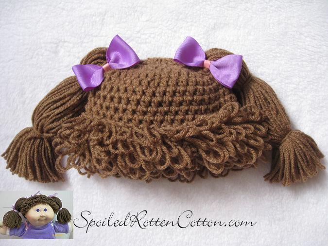 Cabbage Patch Kid Crochet Hat Wig  Light Brown Pigtails Infant Toddler Adult