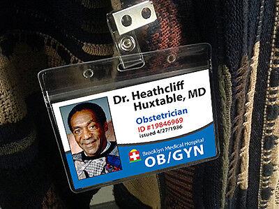 Bill Cosby Halloween Costume Dr Heathcliff Huxtable Name Badge Hostpital ID - Dr Halloween Names