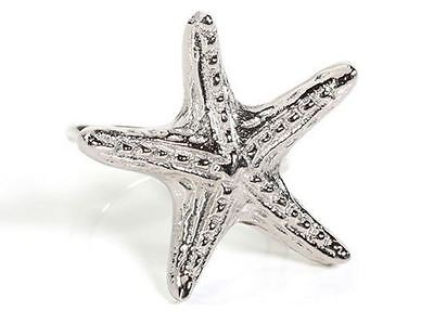 """NEW"" Coastal Starfish Silver Toned Napkin Rings ~ Boxed Individually"