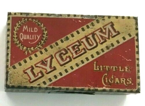 """VINTAGE TOBACCO ADVERTISING TIN"""" LYCEUM""""  LITTLE CIGARS REMNANT TAX PAID STAMP"""