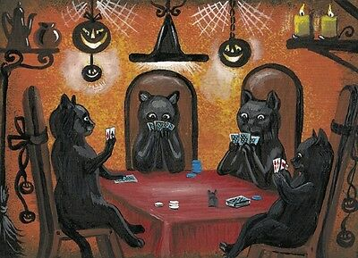 ACEO PRINT OF PAINTING RYTA HALLOWEEN BLACK CAT POKER JOL MOUSE WITCH SKELETON - Paintings Of Halloween