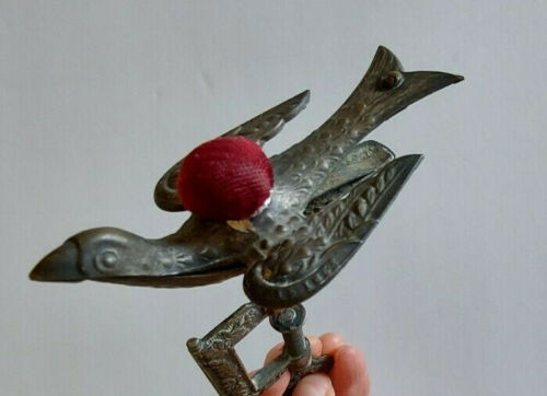 Antique Victorian Song Bird Sewing Clamp Pin Cushion Patented 1853