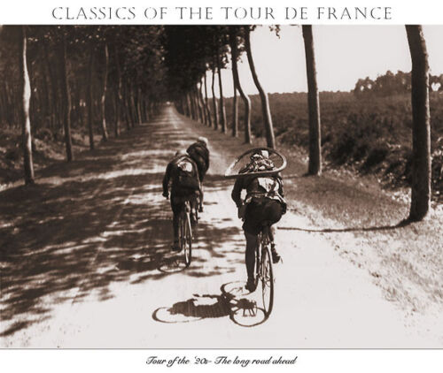 CLASSIC+TOUR+DE+FRANCE+POSTER+-+RACER+CARRYING+EXTRA+BIKE+TIRE+FOR+FLAT