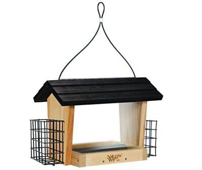Nature's Way Bird Products Cedar Hopper Bird Feeder with Suet Cage