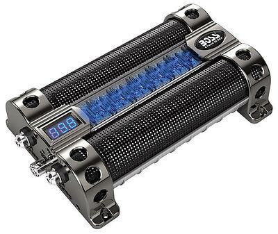 Boss CAP8 8 Farad Car Audio Power Capacitor Digital Voltage Meter/LED Light Show