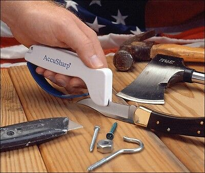 Accusharp Knife and Tool Sharpener 001 White with Full Length Finger Guard