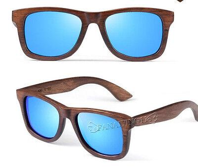 2015 Handmade Wood Blue Lens Fashion Mens Womens Polarizing Glasses Sunglasses