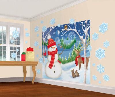 Christmas Winter Friends Snowman Reindeer Scene Setter Wall Decorating Kit