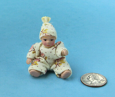 SALE! 1/12 Scale: Dollhouse Miniature Porcelain Dressed Baby Girl Doll #S4738