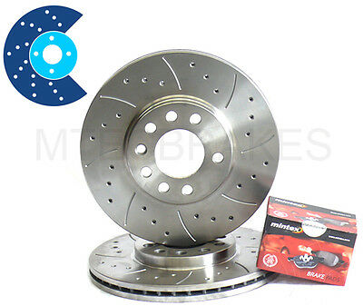 Ford Fiesta mk7 09 12 All Front Drilled Grooved Mtec Brake Discs  Mintex Pads
