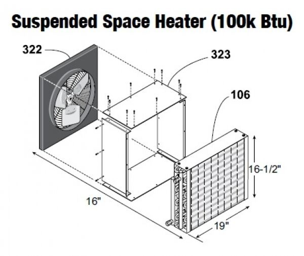 Central Boiler Suspended Space Heater (100k Btu) Fan
