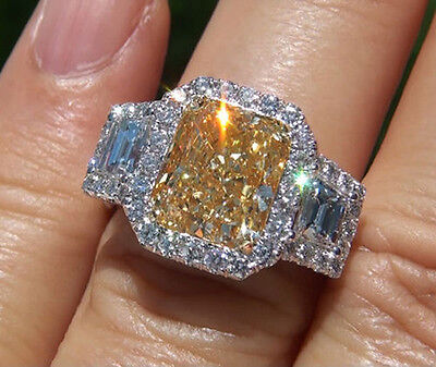 2.95Ct Halo Canary Cushion Cut & Trapezoid Diamond Plat Engagement Ring VS2 GIA