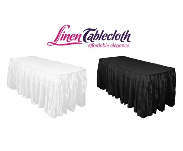 LinenTablecloth 14 ft. Accordion Pleat Satin Table Skirt, We