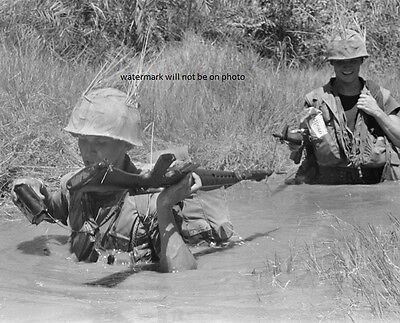 "Marines wading through river near DaNang 8""x 10"" Vietnam War Photo Picture #30"
