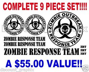 ZOMBIE RESPONSE TEAM DECALS 4X4 JEEP MUD OFF ROAD SKULL STICKER MULTIPLE CHOICE