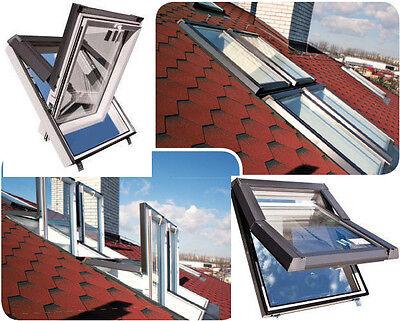 SKYFENSTER Dachfenster Kunststoff SKYLIGHT 78x98 + Eindeckrahmen + ROLLO