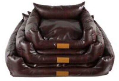 PAWZZZ Faux Leather Dog Bed Sofa  MEDIUM 60x50x24cm Antique Look